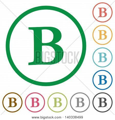 Set of Bold font type color round outlined flat icons on white background