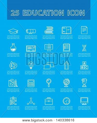 25 thin line simple and beautiful icons for use in education vector. Education and Icon Concept.
