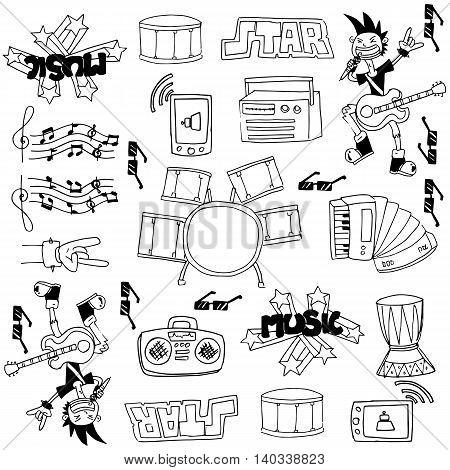 Doodle of music set stock vector art illustration