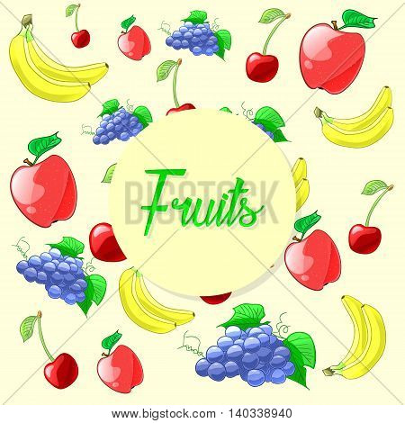 Colorful and fresh fruits illustration.  Apple, cherry, grapes and bananas. Vector