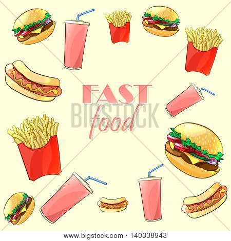 Colorful fast food pattern. Burger, hot dog, French fries and beverage. Vector illustration.