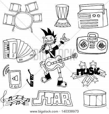 Doodle of element music set vector illustration