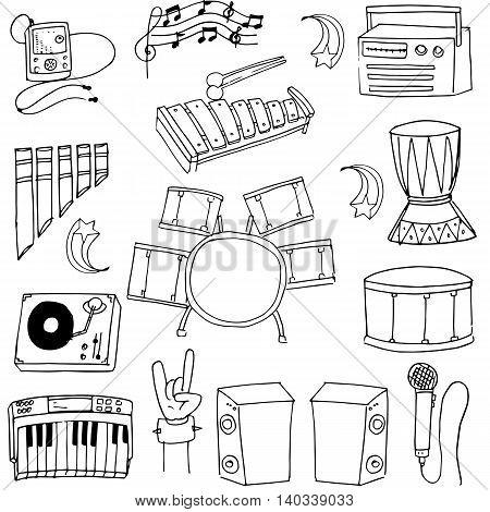 Doodle of music element on white backgrounds illustration