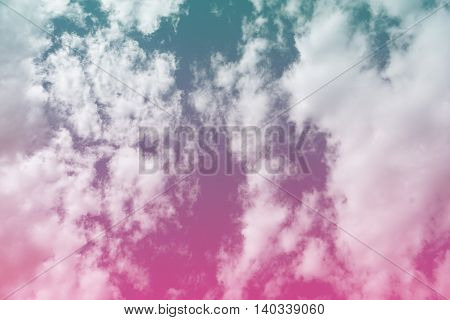 Bright blue purple pink gradient filter sky and clouds for background