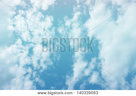Bright blue gradient filter sky and clouds for background