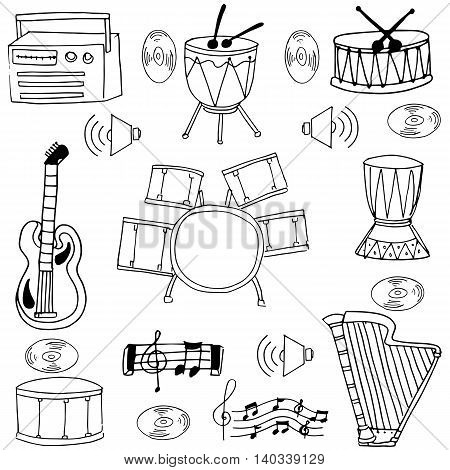 Doodle of music set element oon white backgrounds