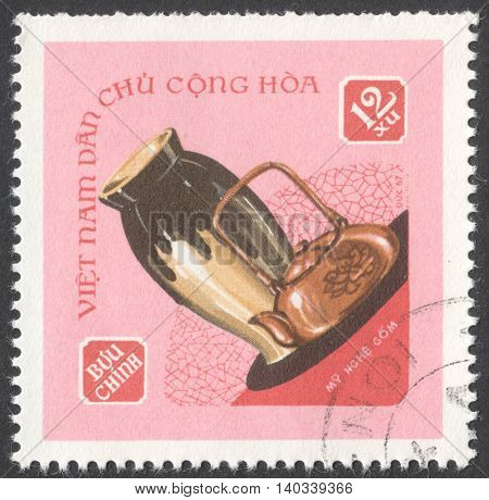 MOSCOW RUSSIA - CIRCA APRIL 2016: a post stamp printed in VIETNAM shows ceramics products the series