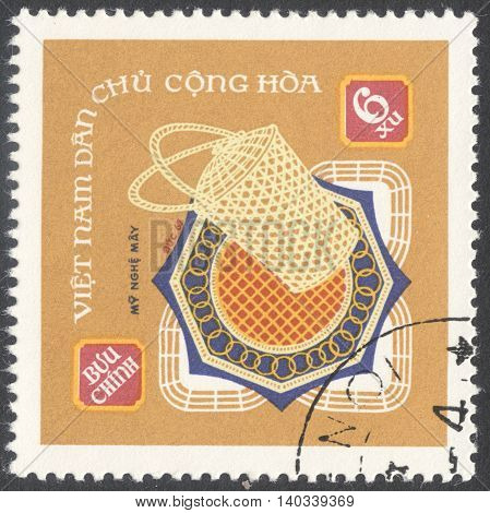 MOSCOW RUSSIA - CIRCA APRIL 2016: a post stamp printed in VIETNAM shows weaving products the series