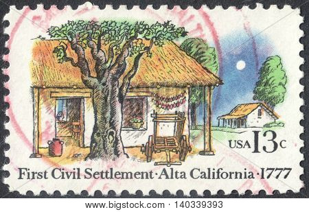 MOSCOW RUSSIA - CIRCA APRIL 2016: a post stamp printed in the USA shows the first civil settlement - Alta California circa 1977