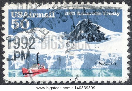 MOSCOW RUSSIA - CIRCA APRIL 2016: a post stamp printed in the USA dedicated to the 30th Anniversary of Antarctic treaty circa 1991