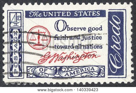 MOSCOW RUSSIA - CIRCA APRIL 2016: a post stamp printed in the USA shows the inscription