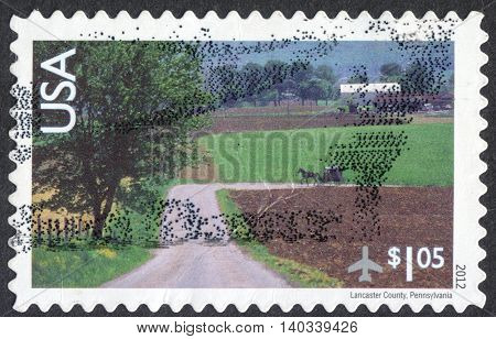 MOSCOW RUSSIA - CIRCA APRIL 2016: a post stamp printed in the USA shows Lancaster county Pennsylvania circa 2012