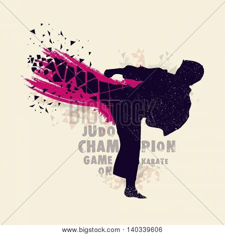 Creative silhouette of Judo Fighter on abstract background for Sports concept.
