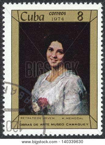 MOSCOW RUSSIA - CIRCA APRIL 2016: a post stamp printed in CUBA shows a painting