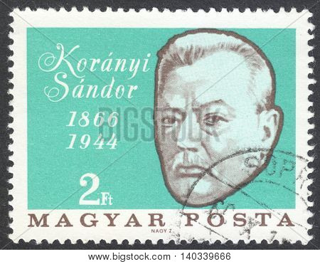 MOSCOW RUSSIA - CIRCA APRIL 2016: a post stamp printed in HUNGARY shows a portrait of Sandor Koranyi devoted to the 100th Anniversary of the Birth of Sandor Koranyi circa 1966