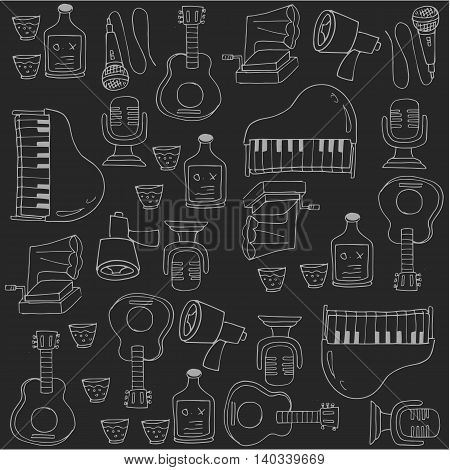 Doodle of hand draw flat music vector illustration