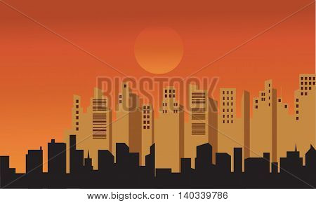 Silhouette of buildings at afternoon on orange backgrounds