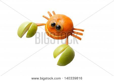 Crab made of fruits on isolated background