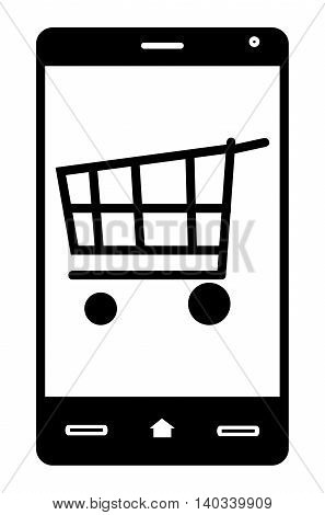 Mobile shopping concept image with related graphics.