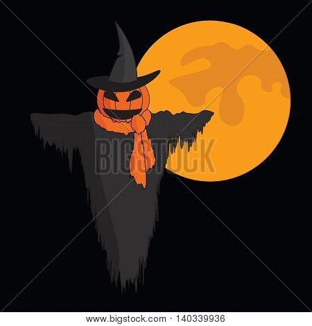 Cute cartoon Scarecrow with witch hat and a scarf on black background with moon.