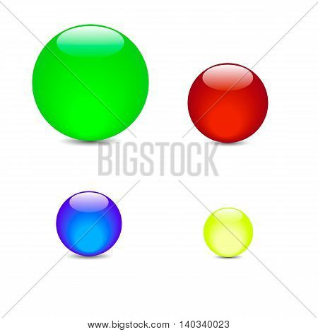 beautiful glossy colored green red yellow blue balls vector illustration