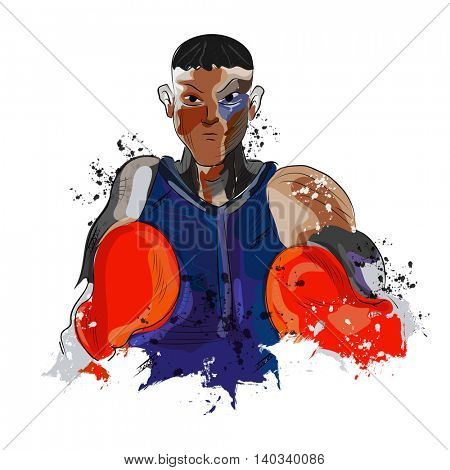 Creative illustration of a boxing player ready to fight on white background for Sports concept.