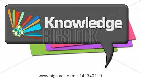 Knowledge text written over dark colorful background.