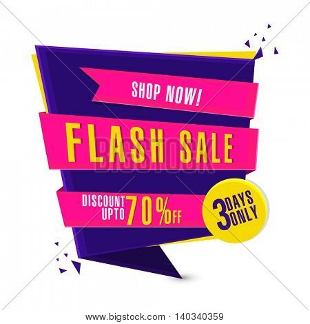 Flash Sale with Discount up to 70% Off for three days only, Creative Paper Tag, Label or Banner design, Vector illustration.