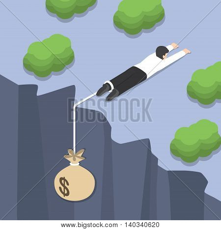 Isometric businessman holding on the cliff edge with money bag tied on his leg Bankruptcy liabilities financial crisis concept