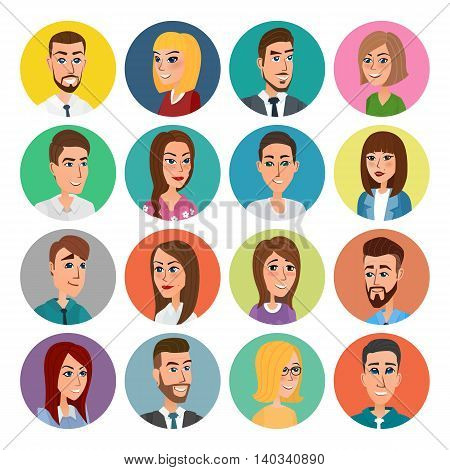 Cartoon male and female faces collection. Vector collection icon set of colorful people modern flat design. Avatars characters of men and women