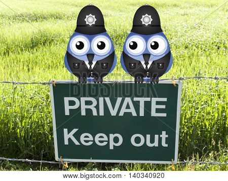 British uniformed policemen guarding private land perched on a private keep out sign