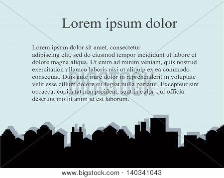 City series background. Outline black buildings on light blue, Lorem ipsum, vector illustration
