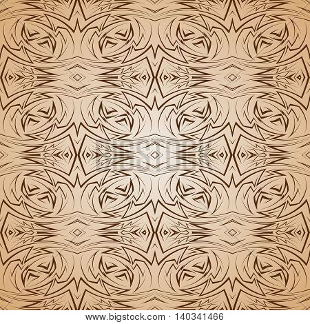 Abstract semaless pattern in brown and beige with sharp line ornament