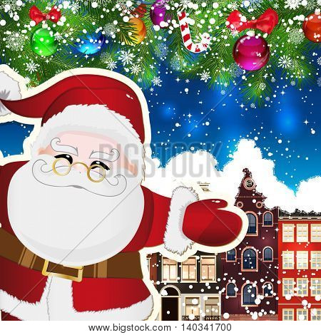 Santa Claus on the background of snow-covered streets. New Year design background. Falling snow.  Holiday illustration with place for text.