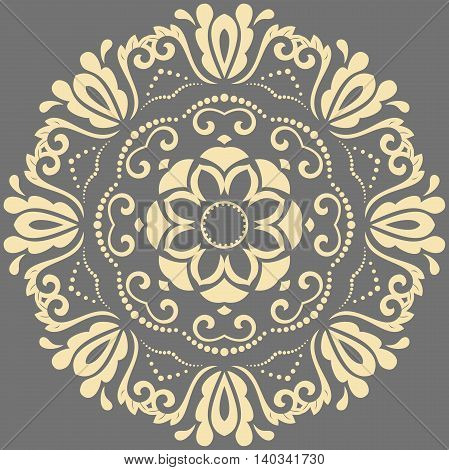 Oriental vector round pattern with arabesques and floral elements. Traditional classic ornament. Gray and golden pattern