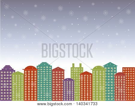 City series background. Colorful buildings, blues cloudy sky, snow, winter in the town, vector illustration
