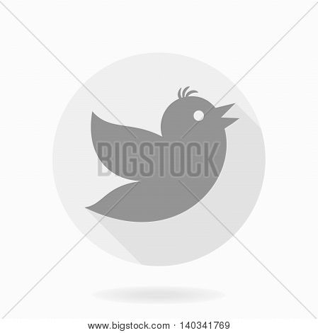 Fine vector icon with flying bird in the circle. Flat design with long shadow