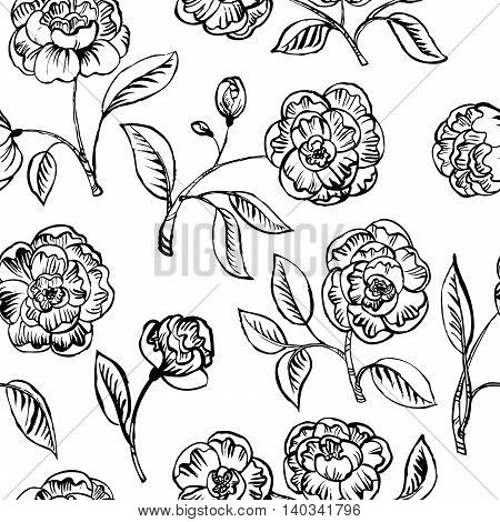 Black and white vector floral seamless pattern