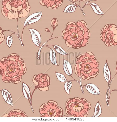 Doodle floral seamless pattern in pink colors