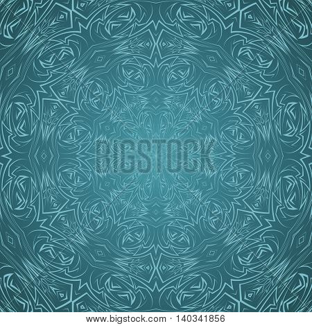 Abstract seamless pattern in cyan with sharp line ornament