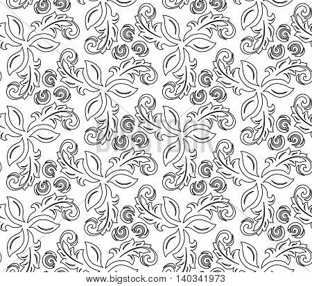 Floral vector ornament with black outline. Seamless abstract classic pattern with flowers