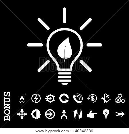 Eco Light Bulb vector icon. Image style is a flat iconic symbol, white color, black background.