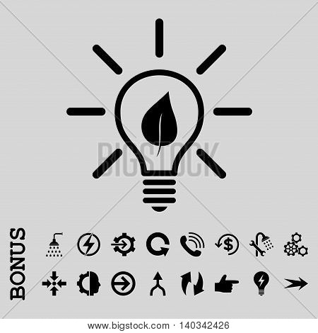 Eco Light Bulb vector icon. Image style is a flat iconic symbol, black color, light gray background.