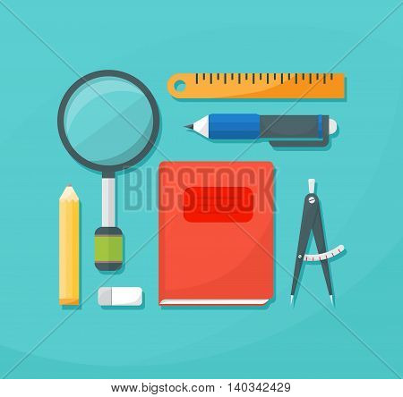 Flat icons set of school supplies. Back to school. Vector illustration