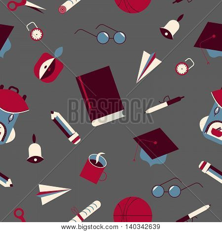 The pattern of school stuff on a gray background