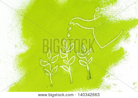 Background Of Green Powder Surface Close Up