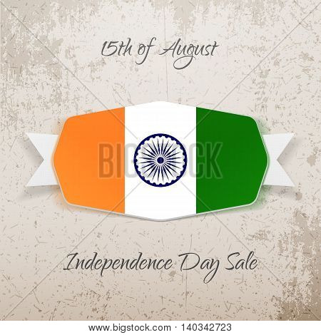 India Independence Day realistic Tag. Vector illustration