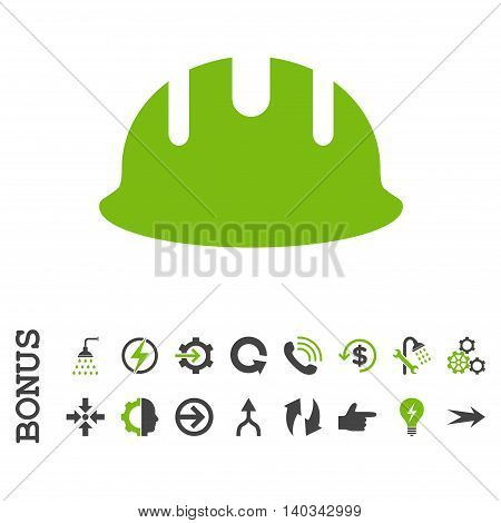 Builder Hardhat vector bicolor icon. Image style is a flat iconic symbol, eco green and gray colors, white background.