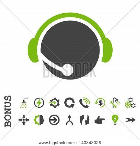 Call Center Operator vector bicolor icon. Image style is a flat iconic symbol, eco green and gray colors, white background.