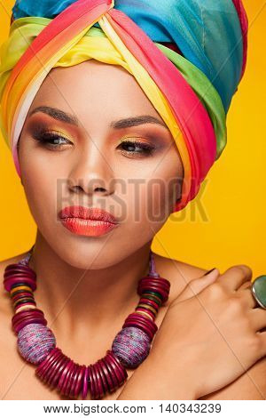Beautiful Ethnic Afrom American Young Model Wearing A Turban